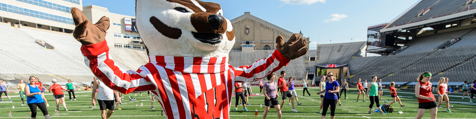 Members of the UW–Madison community participate in Bucky's Workout at Camp Randall